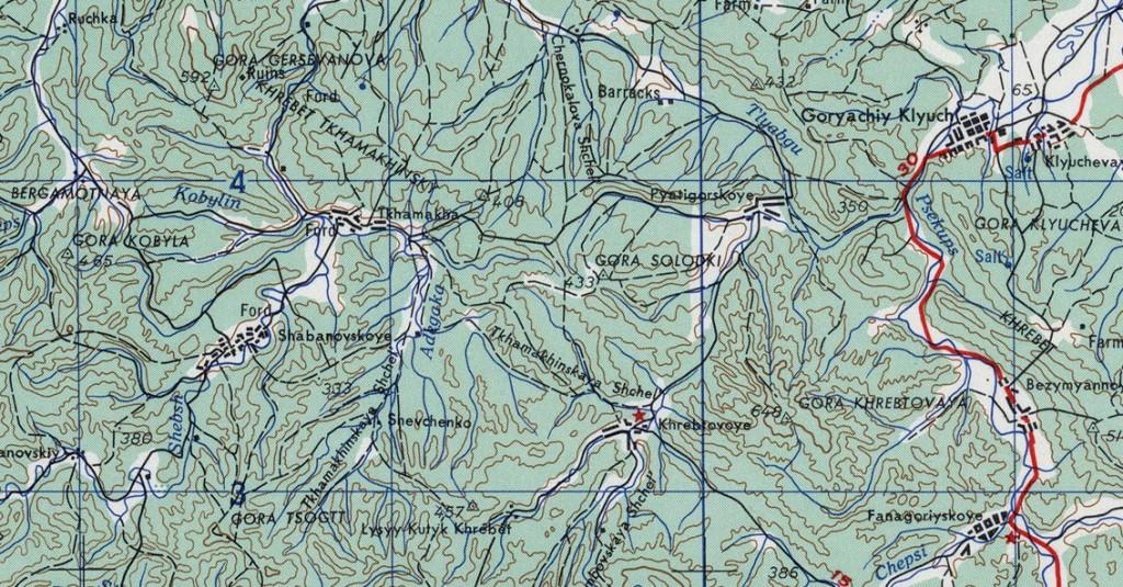 Американские карты Кавказа и Краснодарского края